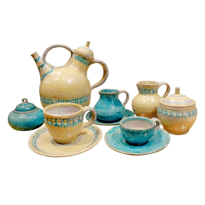 Guido Gambone 33 Piece Ceramic Coffee and Espresso Set, 1950s