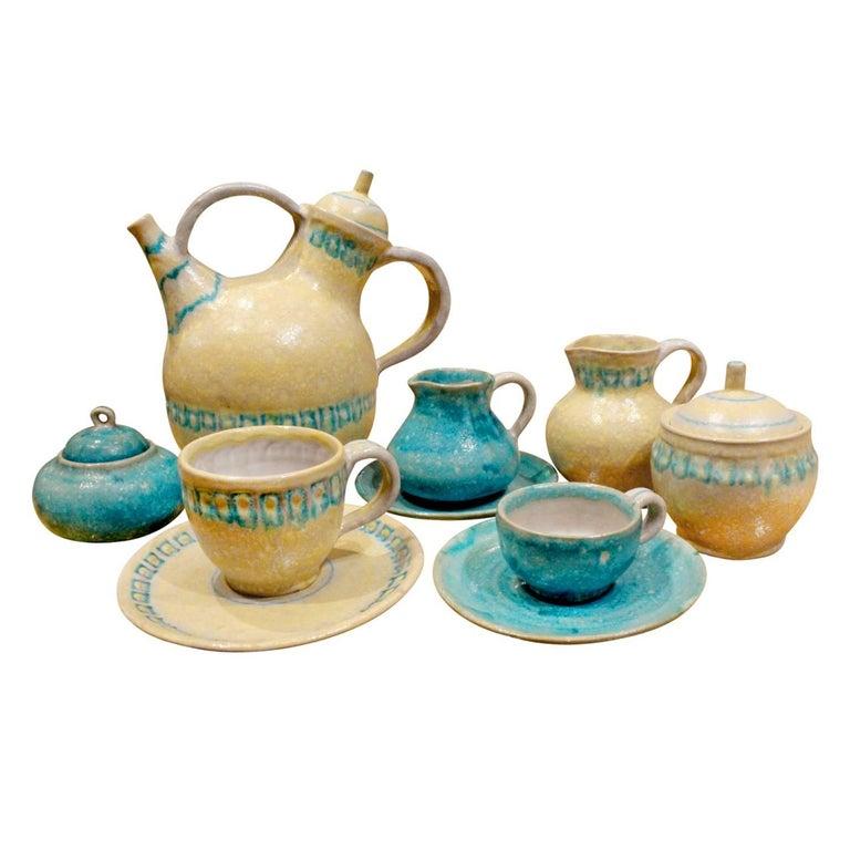 Guido Gambone 33 Piece Ceramic Coffee and Espresso Set, 1950s For Sale