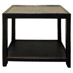 Karl Springer Black Ostrich Side Table, 1970s
