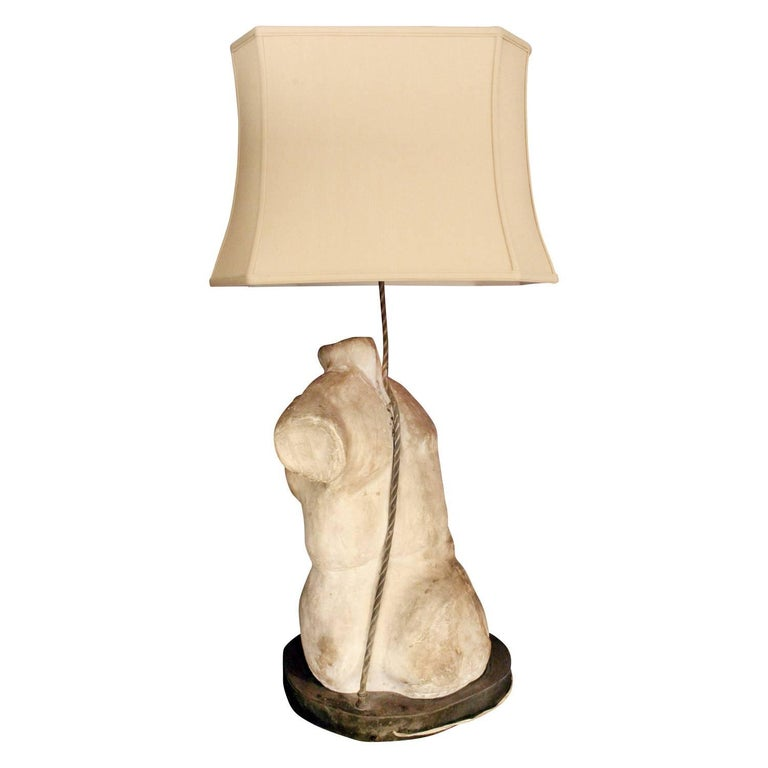 Hand-Crafted Philip & Kelvin Laverne One of a Kind Torso Table Lamps, circa 1970 For Sale