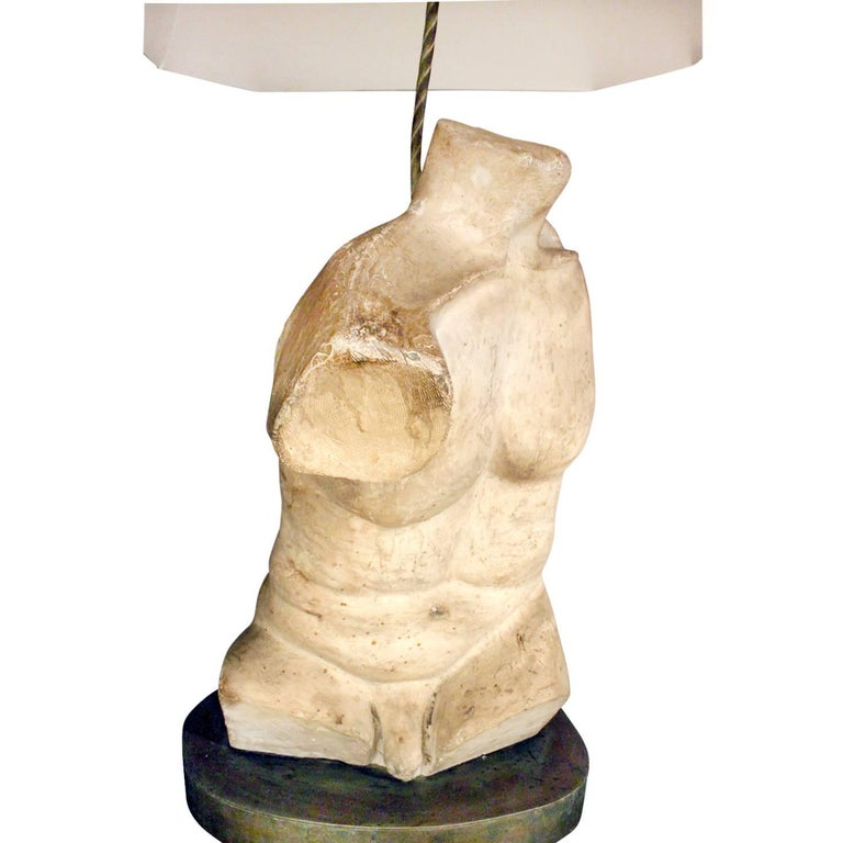 One of a kind male and female torso table lamps in Hydro Stone plaster on patinated bronze bases by Philip & Kelvin LaVerne, American, circa 1970 (signed on bases). These table lamps are impressive and important. As many of the LaVerne's pieces