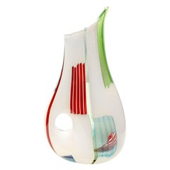 "Anzolo Fuga Iconic ""Bandier"" Vase with Multichrome Rods and Hole, 1950s"