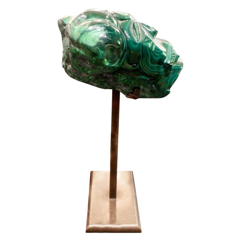 Modern Karl Springer Hand-Carved Malachite Head, 1970s For Sale