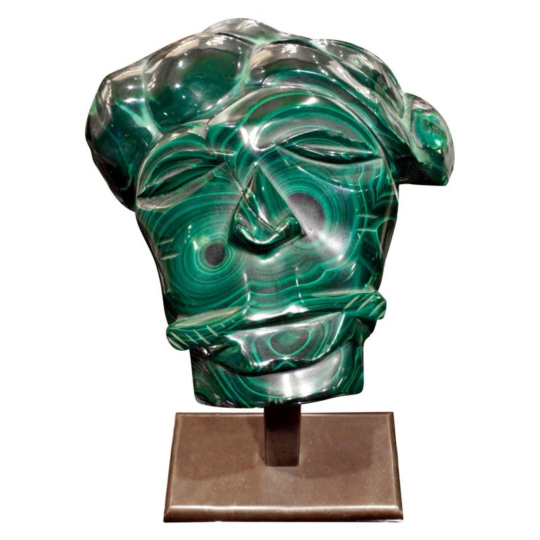 Hand-Crafted Karl Springer Hand-Carved Malachite Head, 1970s For Sale