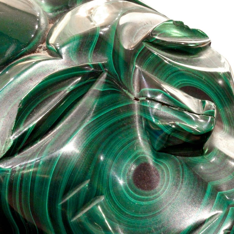 Karl Springer Hand-Carved Malachite Head, 1970s In Excellent Condition For Sale In New York, NY