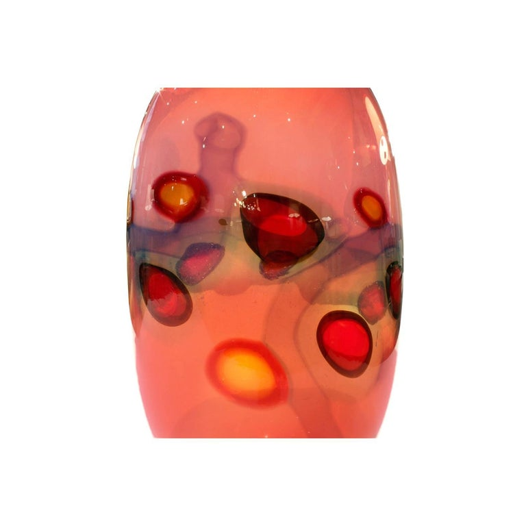 Italian Anzolo Fuga Exceptional Handblown Glass Vase with Applied Murrhines, 1960s For Sale