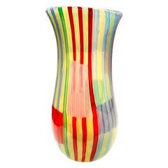 """Anzolo Fuga Rare """"Bandiere"""" Vase with Multi-Color Rods, 1955-1958"""