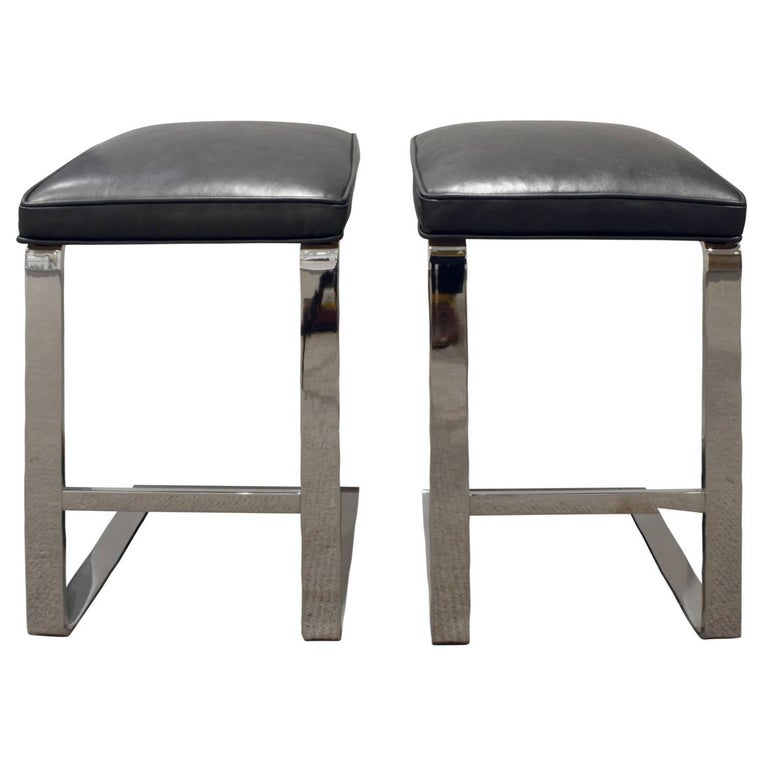 Milo Baughman Pair of Cantilevered Chrome Bar Stools, 1970s
