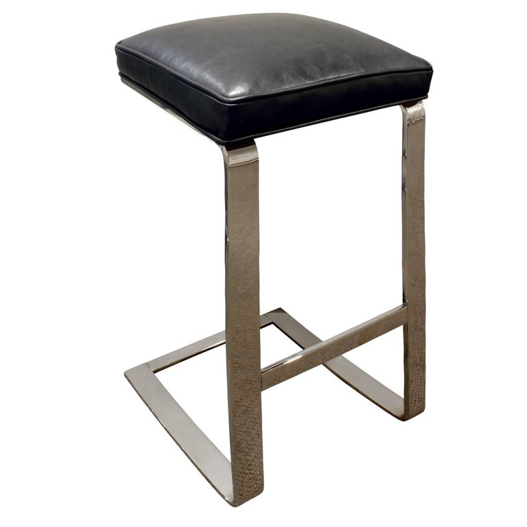 Modern Milo Baughman Pair of Cantilevered Chrome Bar Stools, 1970s For Sale
