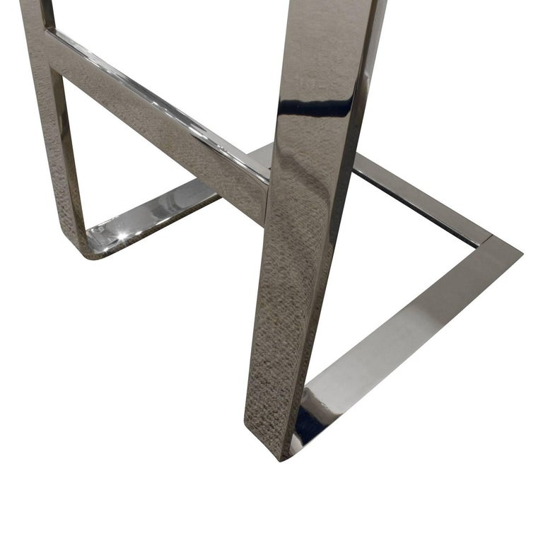 Late 20th Century Milo Baughman Pair of Cantilevered Chrome Bar Stools, 1970s For Sale
