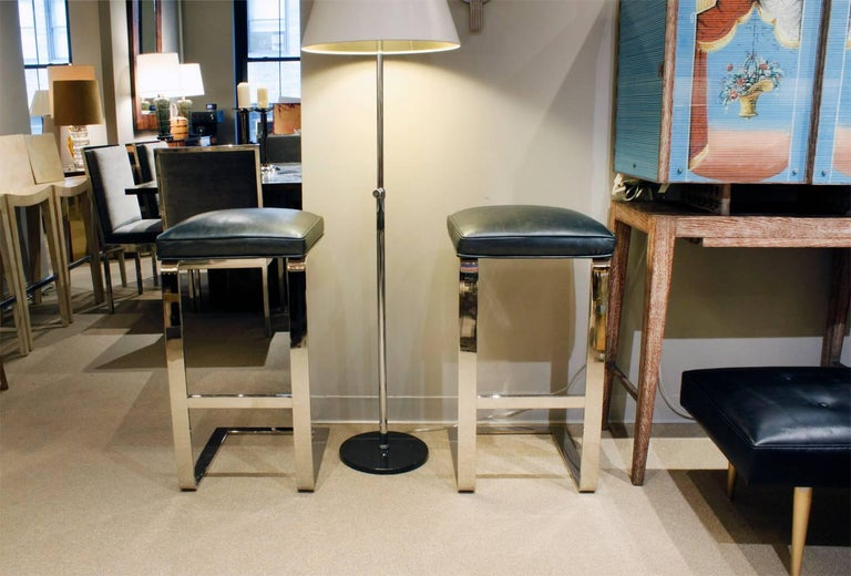 Leather Milo Baughman Pair of Cantilevered Chrome Bar Stools, 1970s For Sale