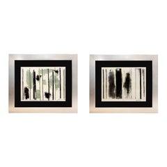 John Konstantin Hansegger Pair of Original Abstract Paintings, 1987 and 1988