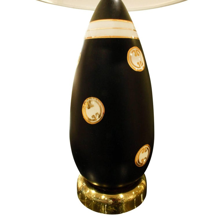 Mid-Century Modern Chic Studio Made Porcelain Table Lamp with Gold Medallions, 1960s For Sale
