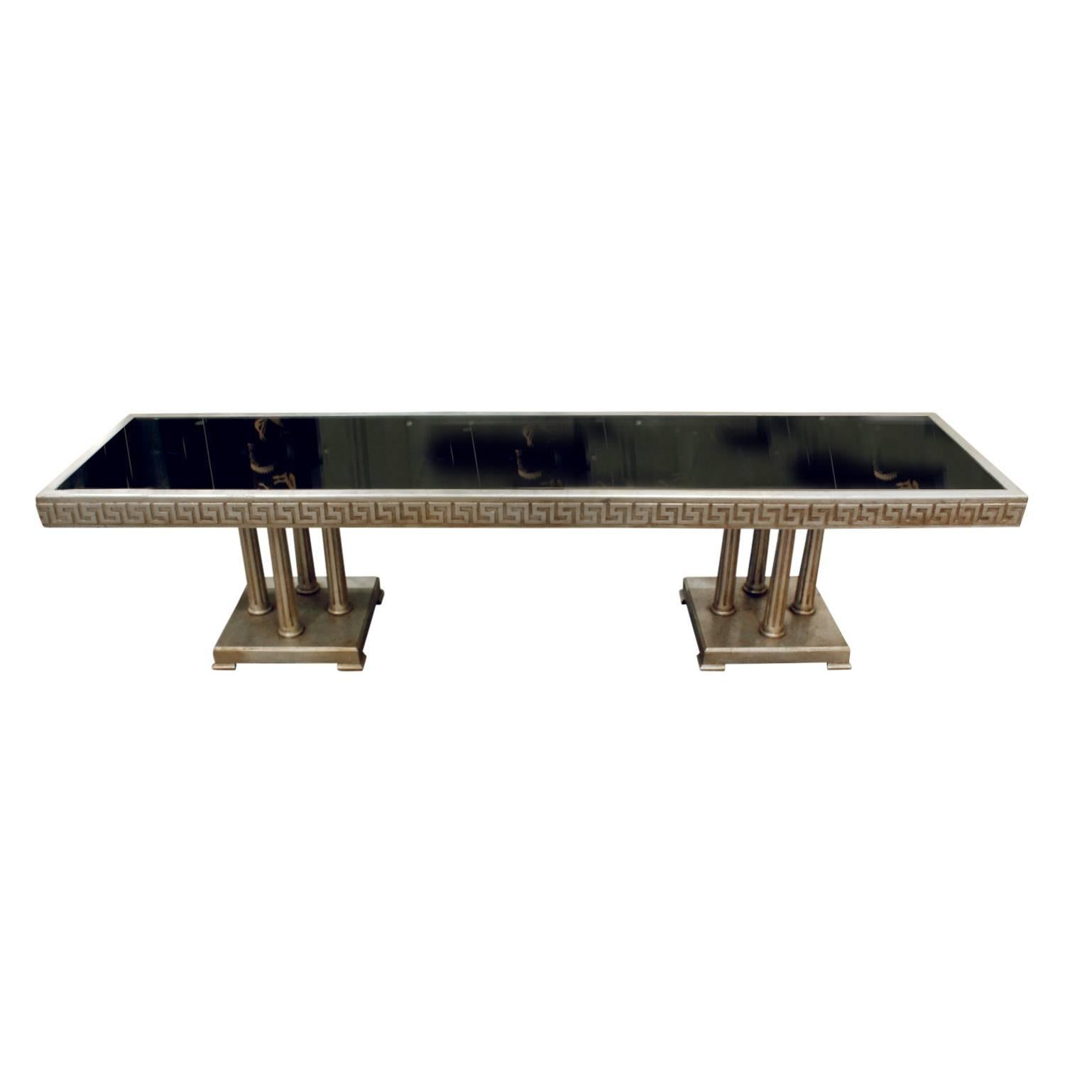 James Mont Large Coffee Table in White Gold Leaf, 1950s