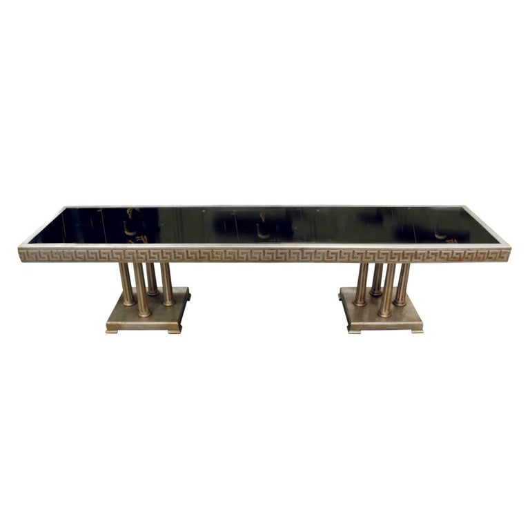 James Mont Large Coffee Table in White Gold Leaf, 1950s For Sale