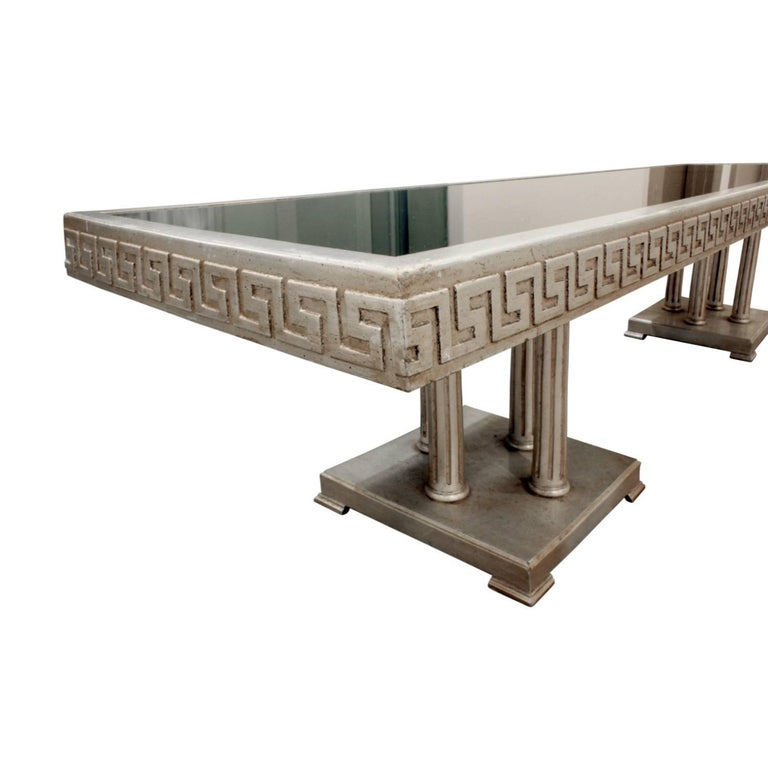 American James Mont Large Coffee Table in White Gold Leaf, 1950s For Sale