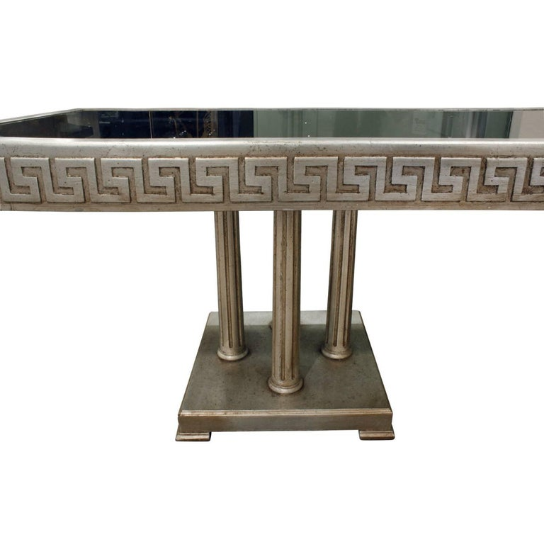 Hand-Crafted James Mont Large Coffee Table in White Gold Leaf, 1950s For Sale