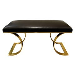 "Karl Springer ""JMF Curved Bench"" in Brass with Black Leather, 1970s"