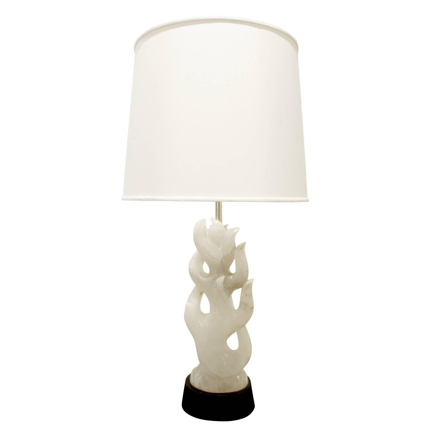 Hand-Carved Alabaster Table Lamp, 1940s