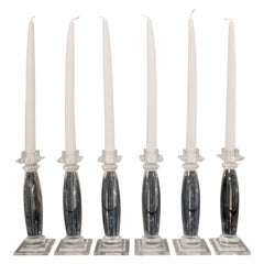 "Karl Springer Six Lucite ""Greek Column Candle Holders"", 1981"