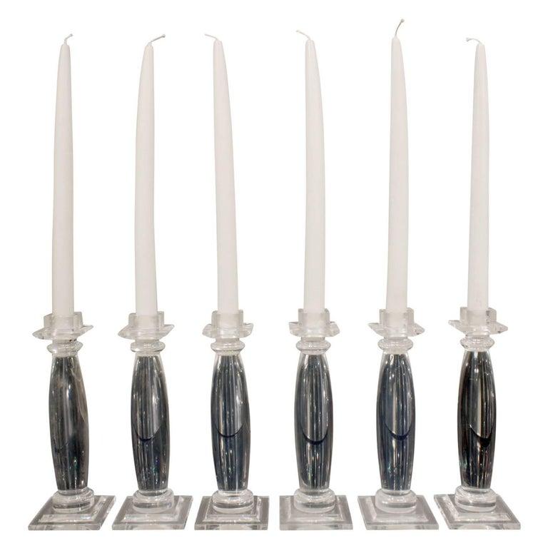 """Karl Springer Six Lucite """"Greek Column Candle Holders"""", 1981 For Sale"""