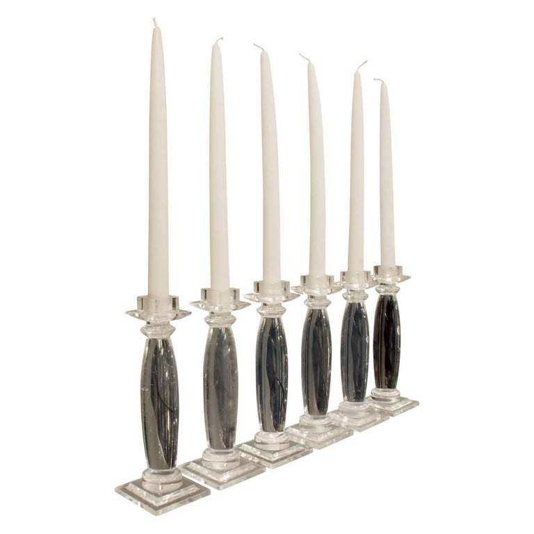 """Set of six """"Greek column candle holders"""" in solid Lucite by Karl Springer, American, 1981."""