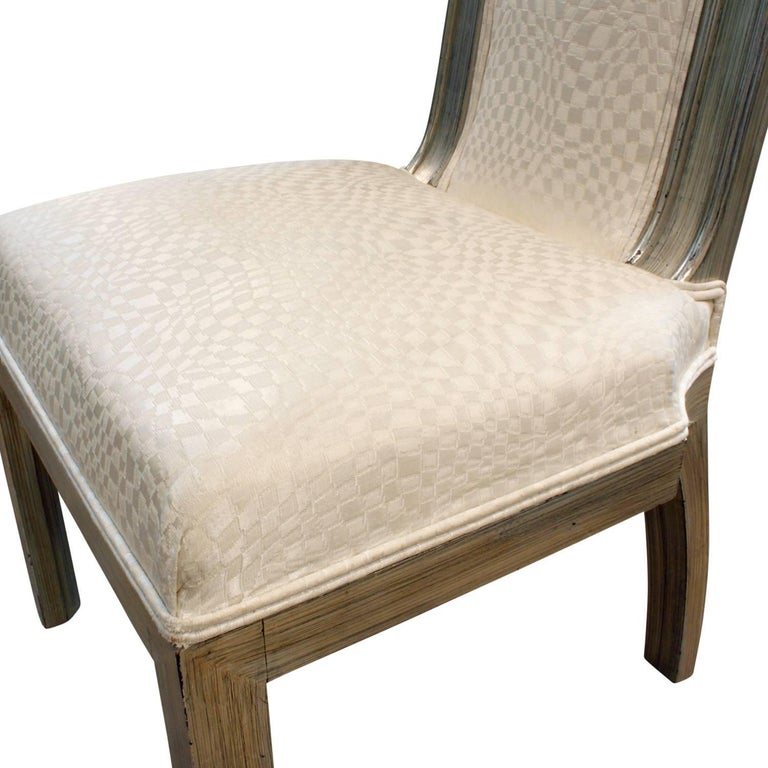 Hand-Crafted James Mont Upholstered Silver Leaf Chair, 1950s For Sale