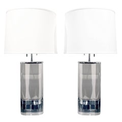 Karl Springer Pair of Large Oval Lucite Table Lamps, 1970s