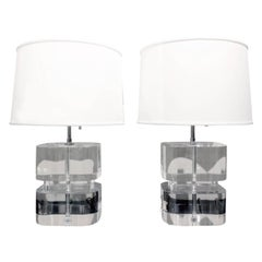 Karl Springer Pair of Two-Tier Thick Lucite Block Lamps 1970s 'Signed'