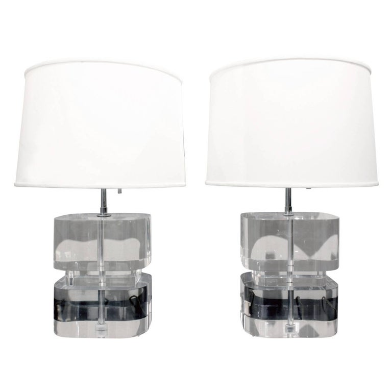 Karl Springer Pair of Two-Tier Thick Lucite Block Lamps 1970s 'Signed' For Sale
