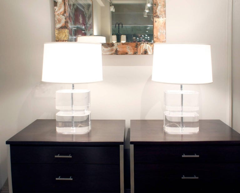 Karl Springer Pair of Two-Tier Thick Lucite Block Lamps 1970s 'Signed' For Sale 1