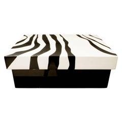 Karl Sprigner Chic Zebra Lacquer Box, 1970s