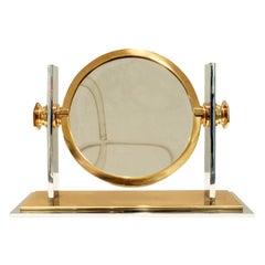 Karl Springer Vanity Mirror in Polished Chrome and Brass, 1980s