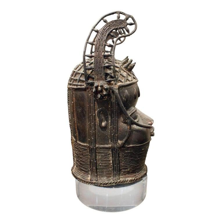 Mid-Century Modern Karl Springer Benin Head on Custom Lucite Base, 1970s For Sale