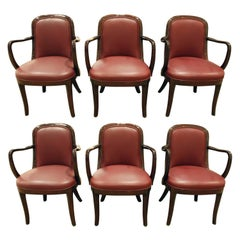 "Donghia Set of Six ""Coronia Dining Chairs"" in Lacquer Mahogany Frames, 1980s"