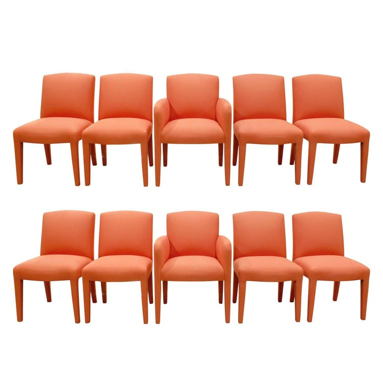 Donghia Set of Ten Salmon Dining Chairs, 1980s