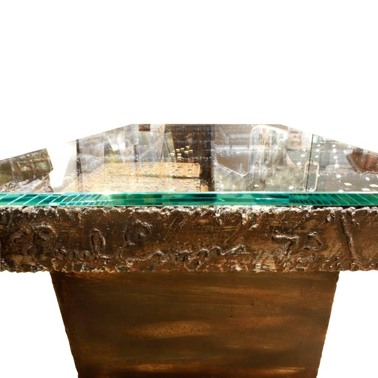 Late 20th Century Paul Evans Important and Rare Welded Coffee Table, 1973 'Signed and Dated' For Sale