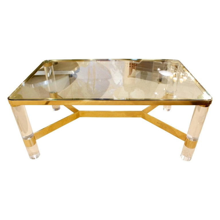 Karl Springer Exceptional Round Leg Lucite Coffee Table 1980s 39 Signed 39 For Sale At 1stdibs