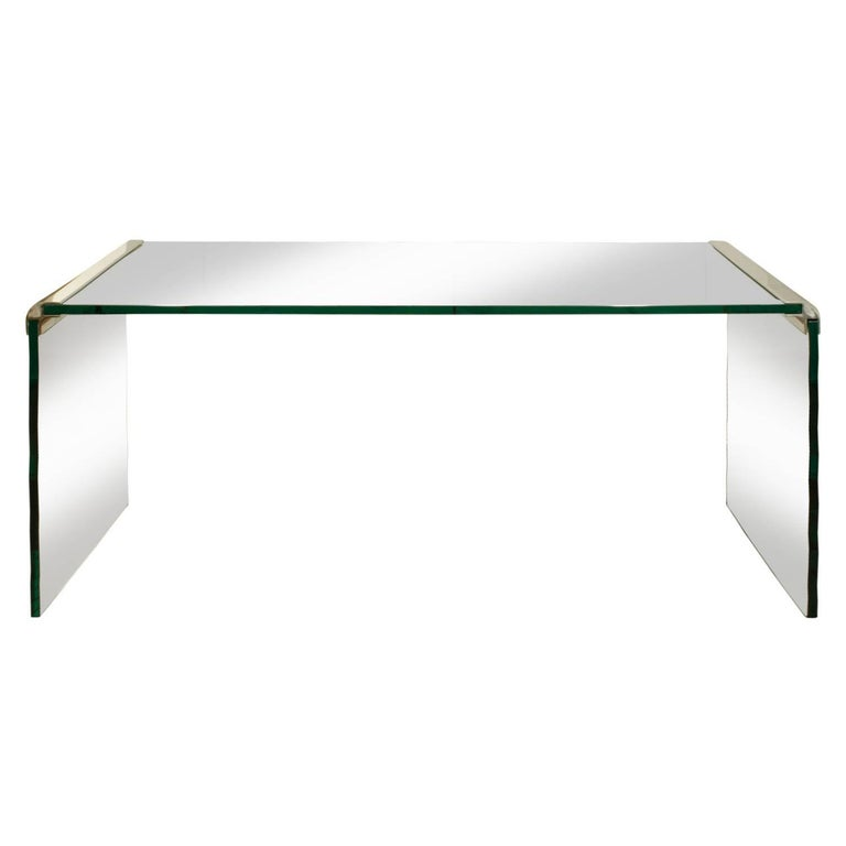 Pace Sleek Glass Waterfall Console Table 1970s