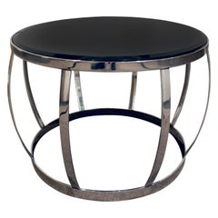 """Karl Springer Rare """"Onyx Coffee Table"""" in Polished Stainless Steel, 1983"""