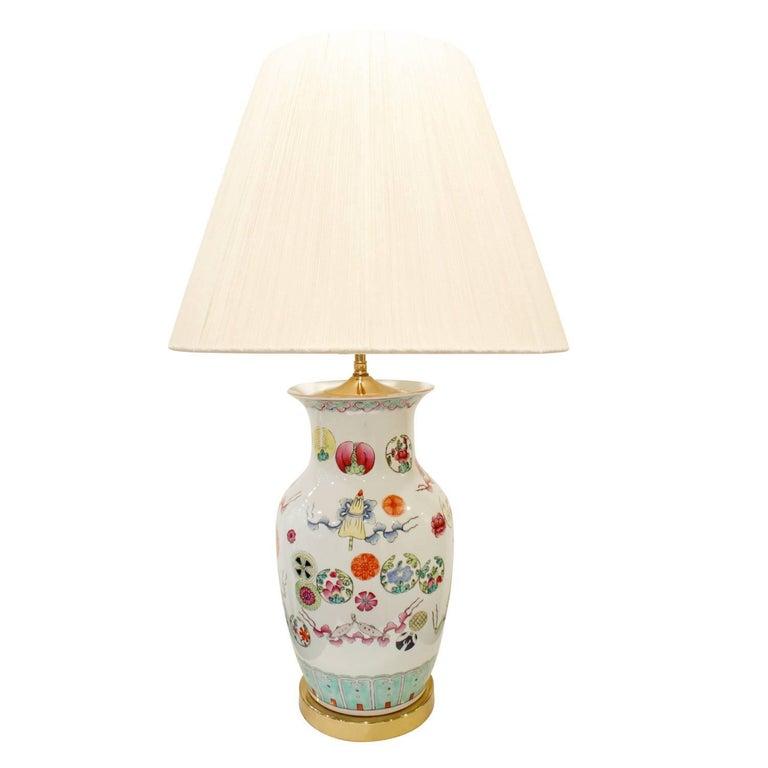 Elegant Hand-Painted Porcelain Table Lamp, 1960s