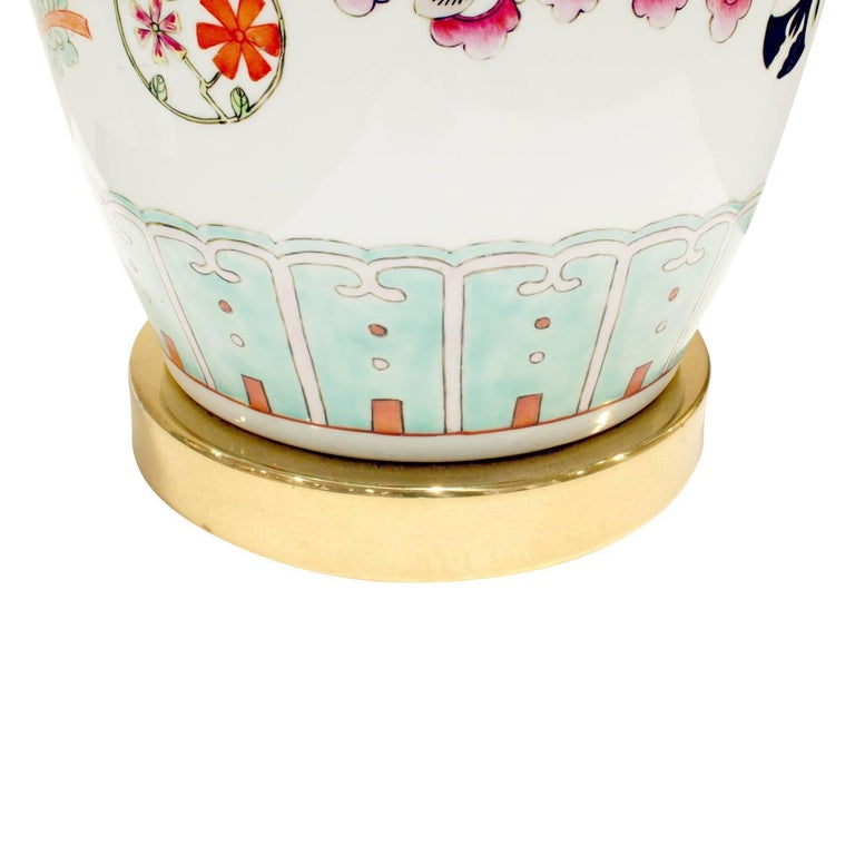 Elegant Hand-Painted Porcelain Table Lamp, 1960s For Sale 2