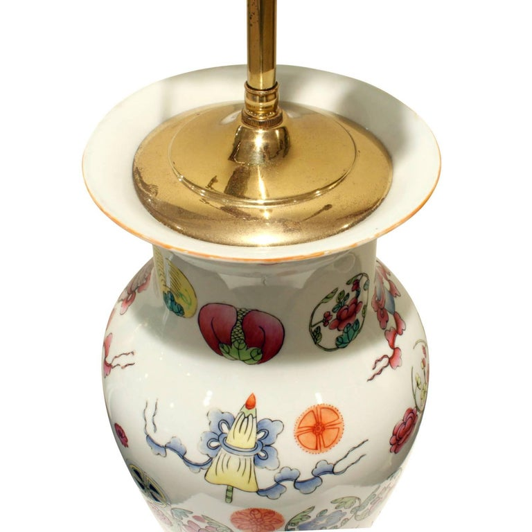 Elegant Hand-Painted Porcelain Table Lamp, 1960s For Sale 1