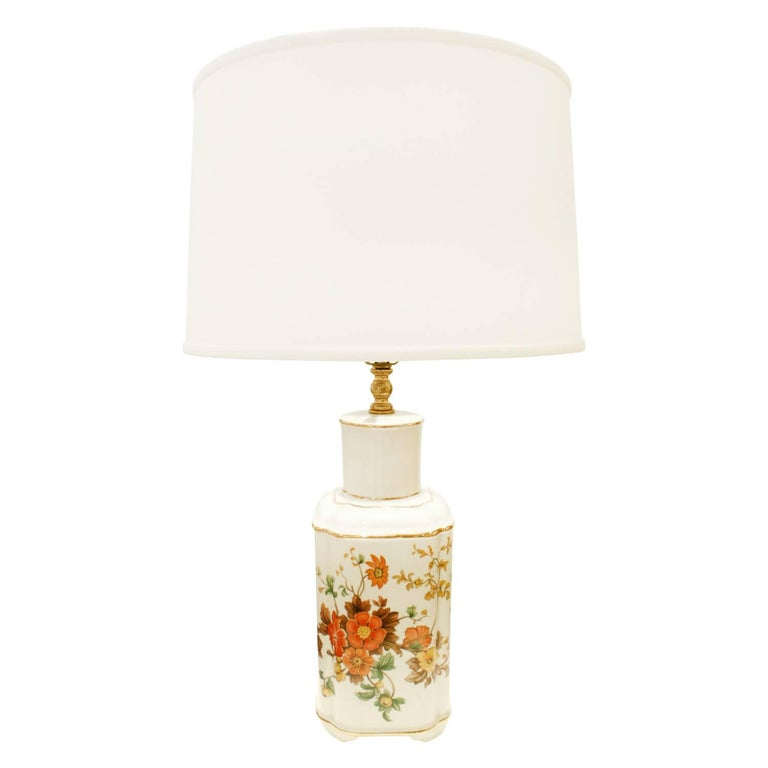 Studio Made Porcelain Table Lamp with Flowers, 1960s For Sale