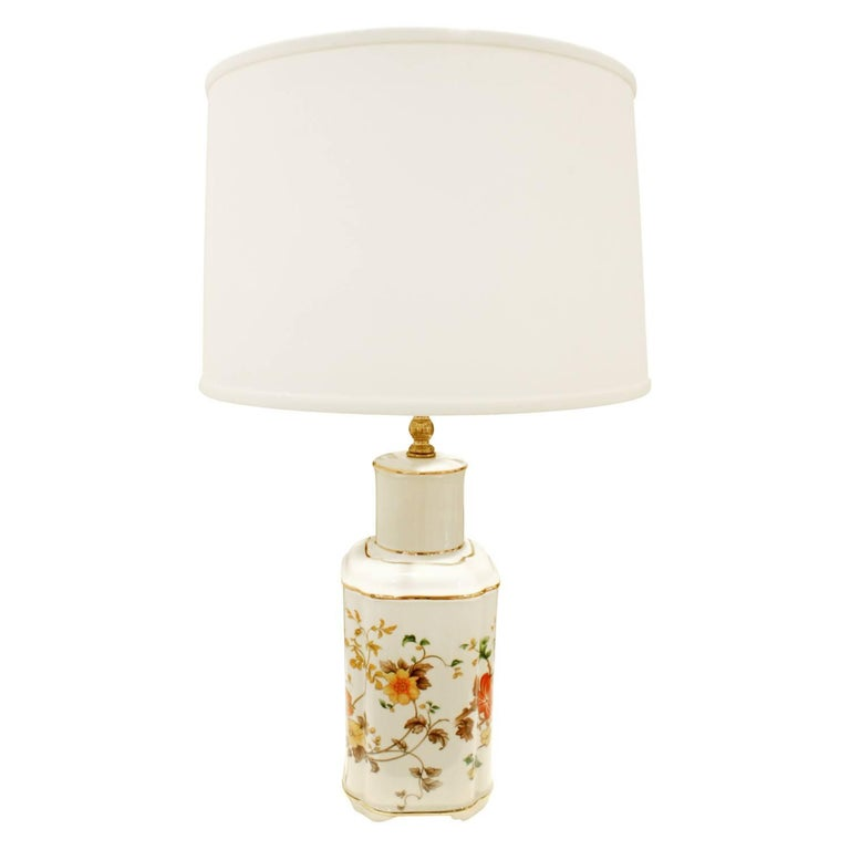 Modern  Studio Made Porcelain Table Lamp with Flowers, 1960s For Sale