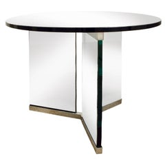 Pace Clean-Line Glass End Table with Chrome Trim, 1970s