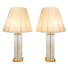 Pair of Chic Table Lamps with Solid Lucite Rods, 1970s