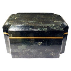 Karl Springer Meticulously Crafted Lidded Box with Shagreen Interior, 1980s