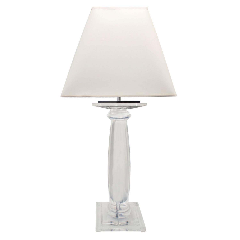 "Karl Springer Solid Lucite ""Greek Column Table Lamp"" 1980s"