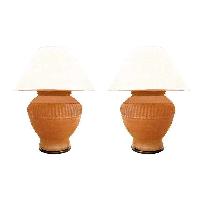 Pair of Monumental Terracotta Table Lamps, 1970s